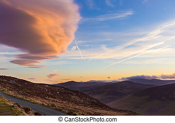 Lenticular clouds over Sally Gap at sunset