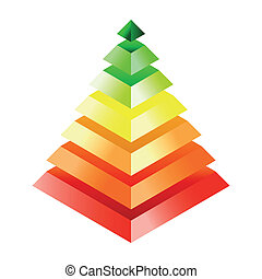 Energy efficiency rating - three-dimensional pyramid Eps10