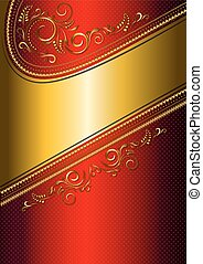 Festive red card with gold border a