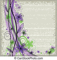 Grunge spring floral background with green and violet...