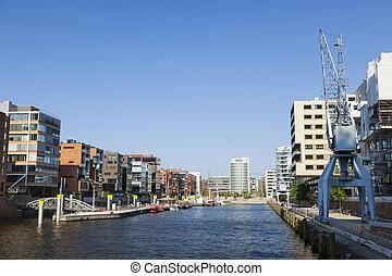 Hafencity Sandtorhafen in Hamburg - Sandtorhafen in the...