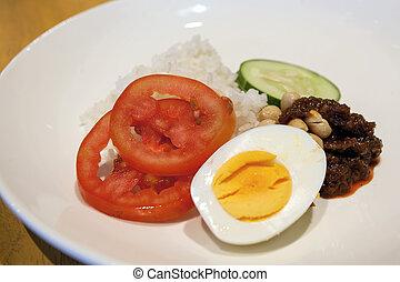 Nasi Lemak Malay Rice Dish Closeup - Nasi Lemak Malay...