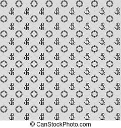 Seamless patterns, gray anchors and lifebuoy