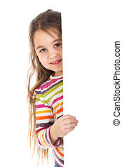 girl peek out from vertica banner - Smiling girl peek out...