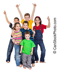 Group of kids with thumbs up sign - Group of happy kids with...