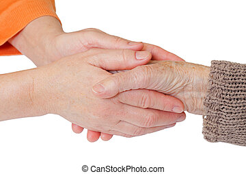 Home care - Woman holding elderly hands on isolated...