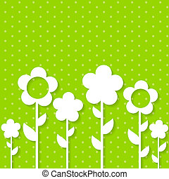Cute Spring Background with Paper Flowers
