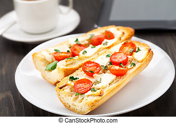 Office breakfast. Vegetarian sandwich and coffee