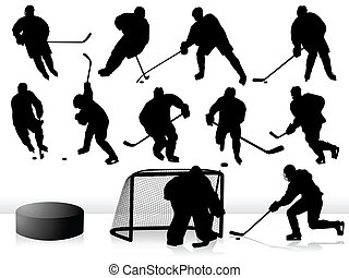 Vector Hockey Players - Silhouettes.