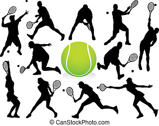 Tennis Players Silhouettes - vector. (Check out my portfolio...