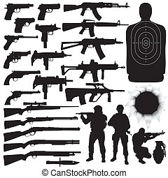 Vector silhouettes of various weapons High detail