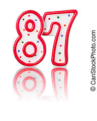 Red number 87 with reflection on a white background