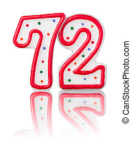 Red number 72 with reflection on a white background