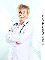 Smiling medical doctor woman