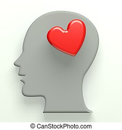 Head thinking in love 3D image