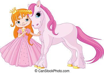 Cute Princess and Unicorn - The beautiful princess and cute...