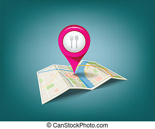 Folded maps with pink color point markers, restaurant is...