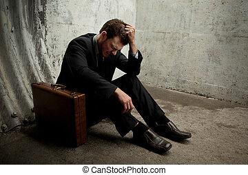 muy, Desparate, hombre de negocios, acostado, suelo