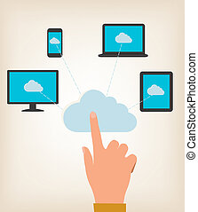 Flat design concept of cloud computing concept with hand and computer devices. Vector illustratio