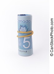 Five Dollar note of Canada - Rolled Canadian dollar note...