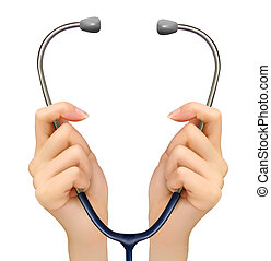 médico, fundo, mãos, segurando,...