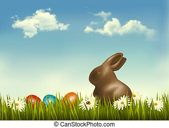 Chocolate bunny with easter eggs in grass Vector