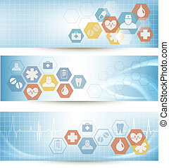 Three medical banners with icons Vector