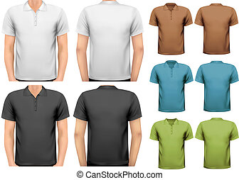 Black and white and color men t-shirts. Design template....