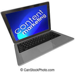 Content Marketing words on a laptop computer screen with blue background to illustrate customer outreach and advertising through articles, blogs, videos, webinars and more
