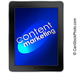 Content Marketing words on a tablet computer to illustrate...