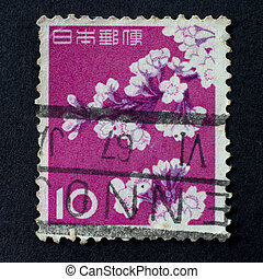 JAPAN - CIRCA 1962: A stamp shows cherry blossoms printed in...