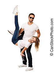 acrobatic - Happy emotional young couple in love posing at...