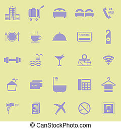 Hotel color icons on yellow background