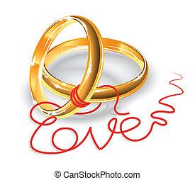 Cute Wedding Rings Vector