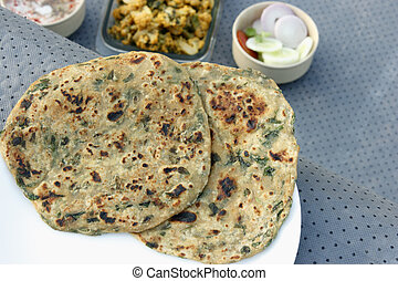 Methi Paratha ? Stuffed flatbread made with fenugreek...