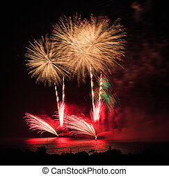Beautiful colorful holiday fireworks on the black sky...