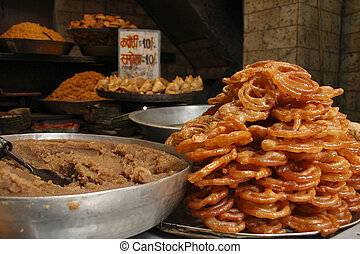 Kachori is a spicy snack from India - View of a Food stall...