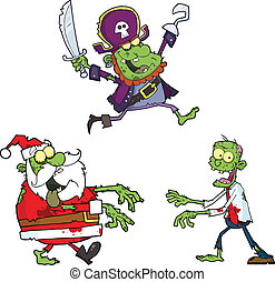 Zombie Characters Collection Set - Zombie Cartoon Characters...