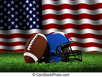 American Football with Flag - American Football with Helmet...