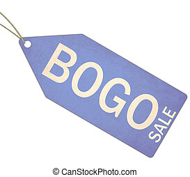 BOGO Sale Blue Tag and String - A blue, and white textured...