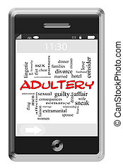 Adultery Word Cloud Concept on Touchscreen Phone - Adultery...