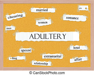 Adultery Corkboard Word Concept with great terms such as...