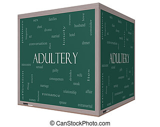 Adultery Word Cloud Concept on a 3D cube Blackboard with...