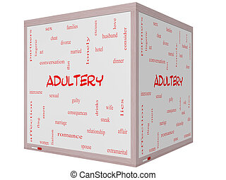 Adultery Word Cloud Concept on a 3D cube Whiteboard with...