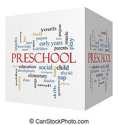 Preschool 3D cube Word Cloud Concept