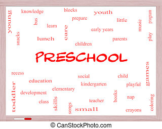 Preschool Word Cloud Concept on a Whiteboard with great...