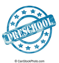 Blue Weathered Preschool Stamp Circles and Stars