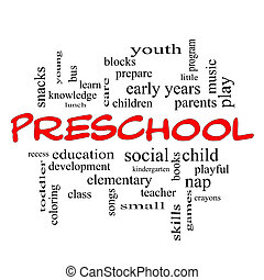 Preschool Word Cloud Concept in red caps with great terms...