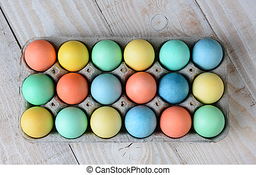 Easter Egg Carton - Overhead view of dyed Easter egg carton...