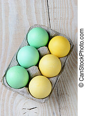 Six Pack of Easter Eggs - High angle shot of a six pack of...